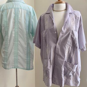 Vintage Guayabera Button Up Shirt Tunic Lavender